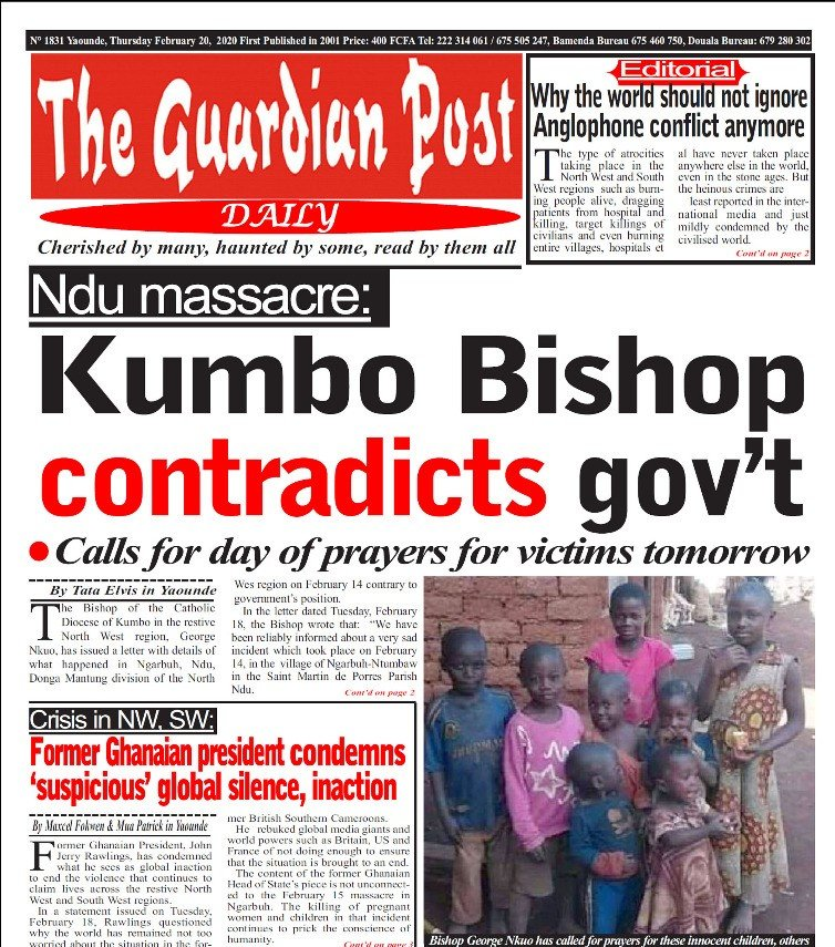 Recent Cameroon Massacre: Bishop George Nkuo (Kumbo) Declares Day of Prayer and Mourning