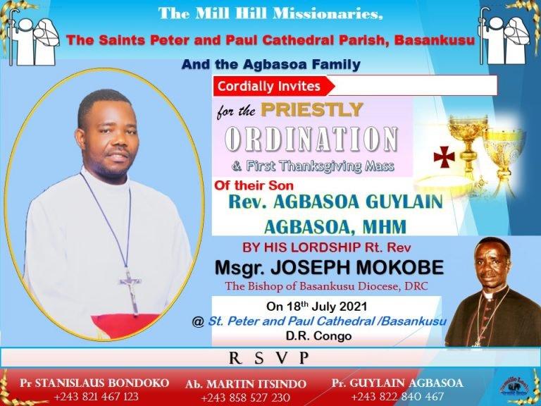 Basankusu, DR Congo: Ordination of Guylain Agbasoa MHM